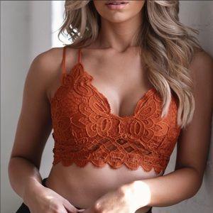 Anemone Lace Orange Bralette Top